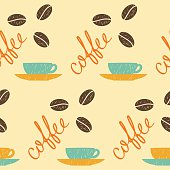 Coffee theme. Doodle handmade sketch background. Hand drawn coffee letters.