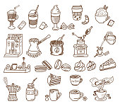 Coffee Theme vector doodle set. Coffee and dessert.