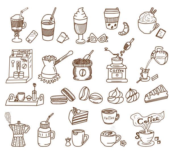 Coffee Theme Doodle Set Coffee Theme vector doodle set. Coffee and dessert. espresso stock illustrations