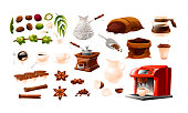 Coffee theme objects. Agriculture, stages of growing and coffee making. Vector illustration in cartoon style isolated on white