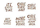 Coffee quotes isolated on white background. Coffee is always a good idea, Made with love phrases. Handdrawn message. Vector illustration.