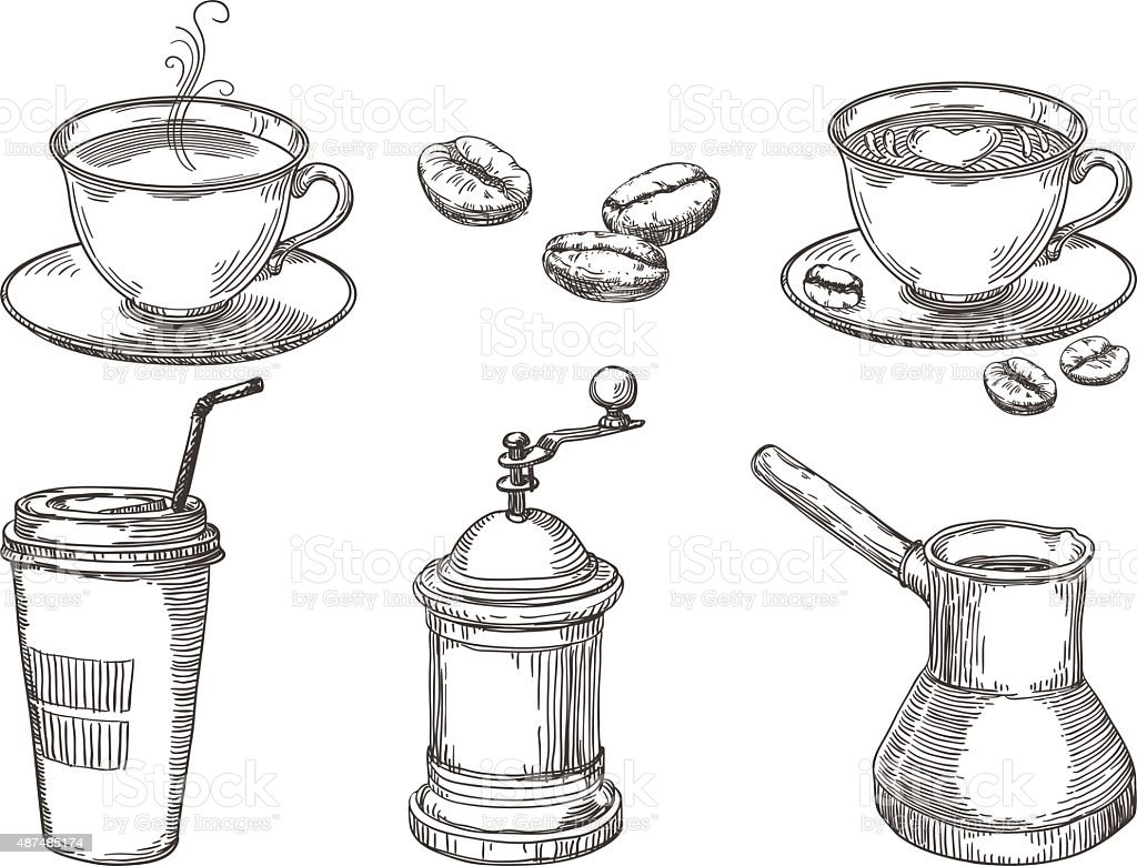 Coffee things vector art illustration