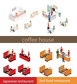 Coffee time abstract cafe concept flat 3d web isometric infographic vector. Couples sitting at tables drinking coffee.