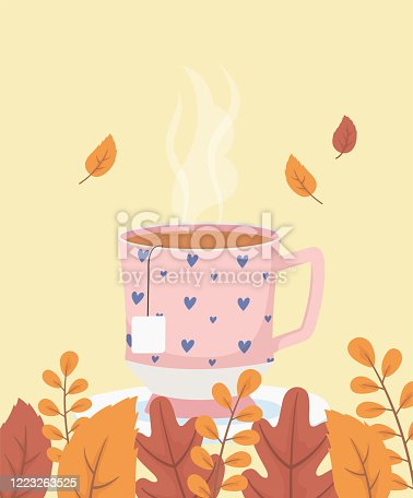 coffee time and tea, cup with hearts decoration on dish and leaves vector illustration