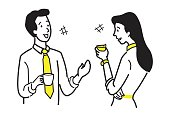 Businessman and businesswoman, office workers, talking and chatting in coffee break time, business concept of relaxation, refreshment, relationship. Character line sketching design, simple style.