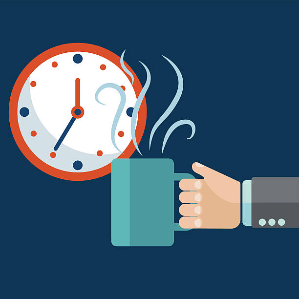ilustrações de stock, clip art, desenhos animados e ícones de hora do café, lanchar conceito. mão segurar e caneca de café - pausa para café