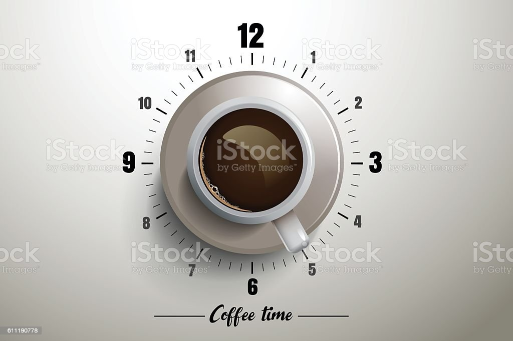 Coffee time design with clock concept vector art illustration