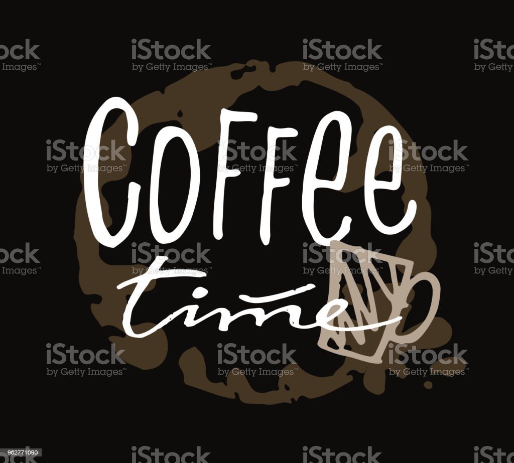 Coffee time hand drawn doodle lettering poster - arte vettoriale royalty-free di Astratto