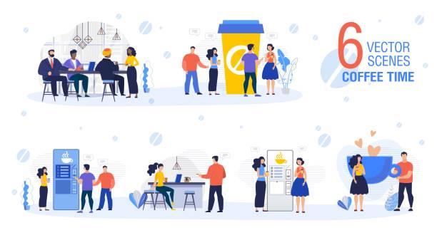 ilustrações de stock, clip art, desenhos animados e ícones de coffee time in office flat vector scenes set - pausa para café