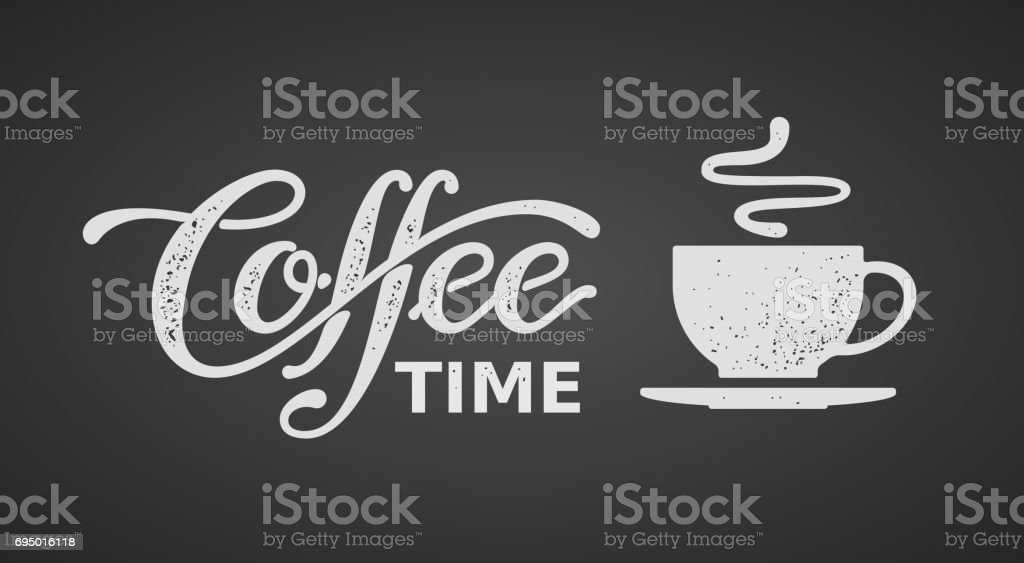 Coffee time. Lettering isolated on black background vector art illustration