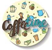 Coffee time, lettering. Vector Illustration