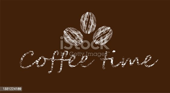istock Coffee time lettering with grunge texture 1331224189