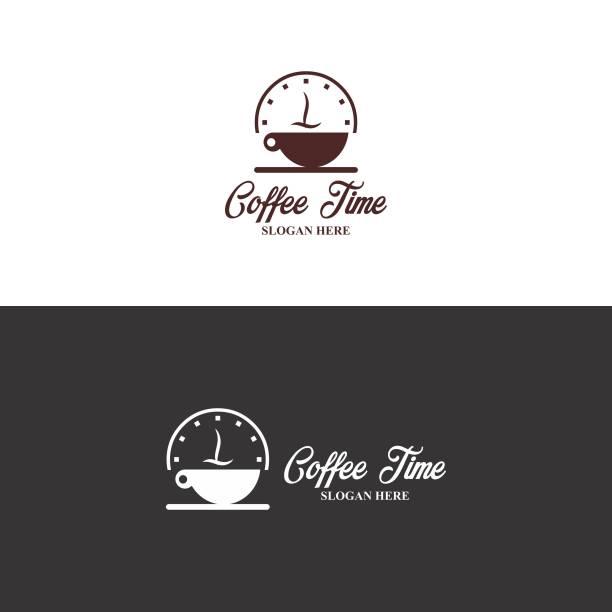 ilustrações de stock, clip art, desenhos animados e ícones de coffee time logo in vector - pausa para café