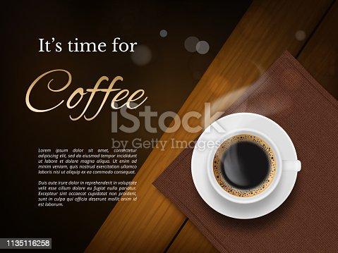 Coffee time poster. Advertizing placard with brown coffee cup and place for text vector picture. Illustration cup of coffee, poster for cafe