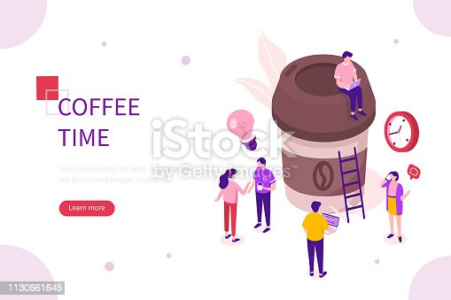Coffee time concept. Can use for web banner, infographics, hero images. Flat isometric vector illustration isolated on white background.