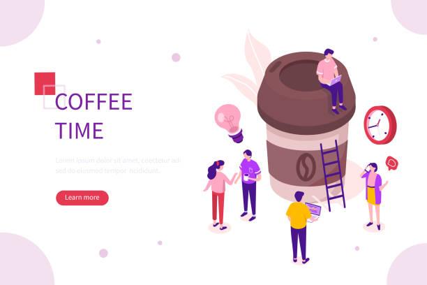 ilustrações de stock, clip art, desenhos animados e ícones de coffee time - pausa para café