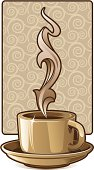 Vector illustration of a steaming cup of coffee. Background and foreground are separated.  Download will include CS3 and EPS8 files.