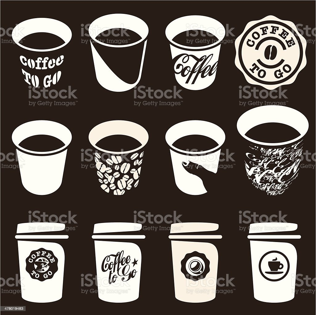 Coffee to go cup set vector art illustration