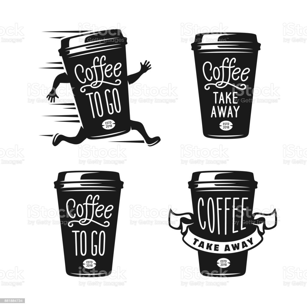 Coffee to go emblems set take away coffee labels vector for Coffee to go