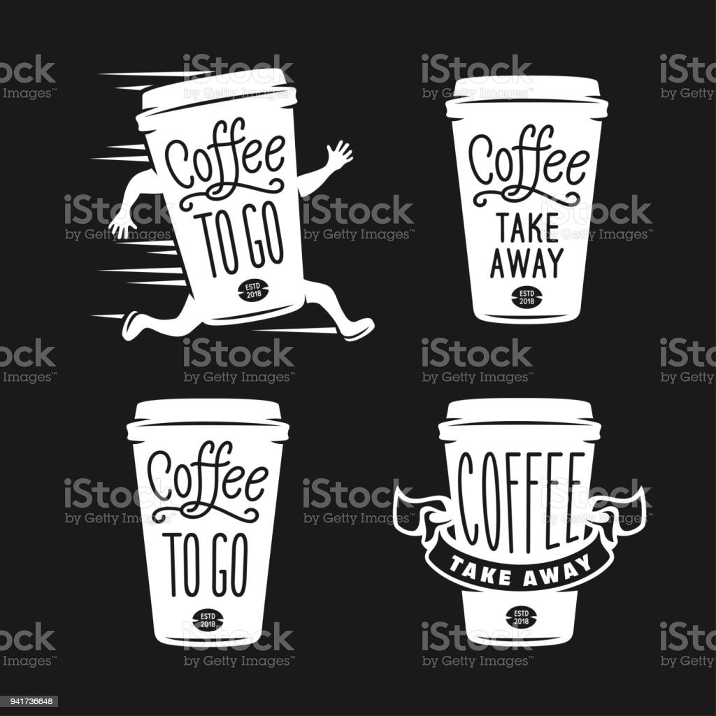 Coffee to go emblems set. Take away coffee labels. Vector vintage illustration. - Royalty-free Alcohol stock vector