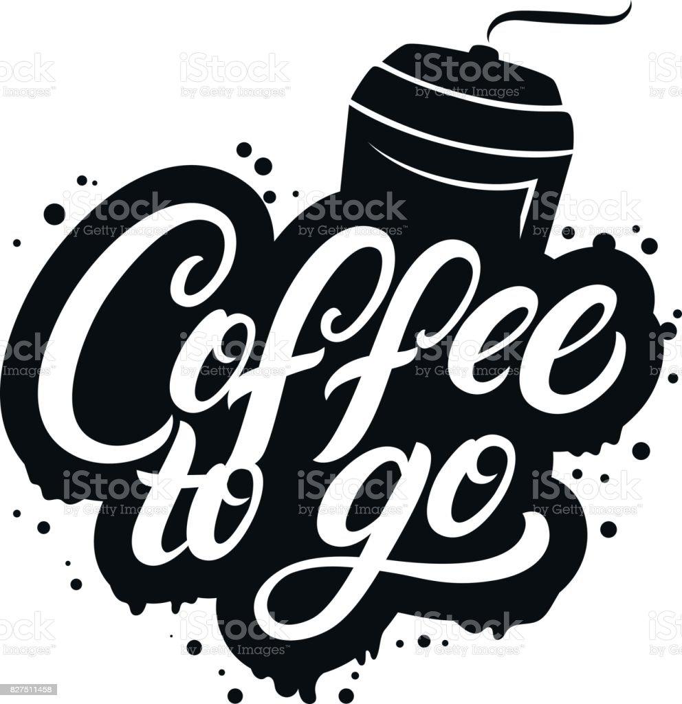 Caf para llevar escrito letras cartel con taza de papel a for Cafe para llevar
