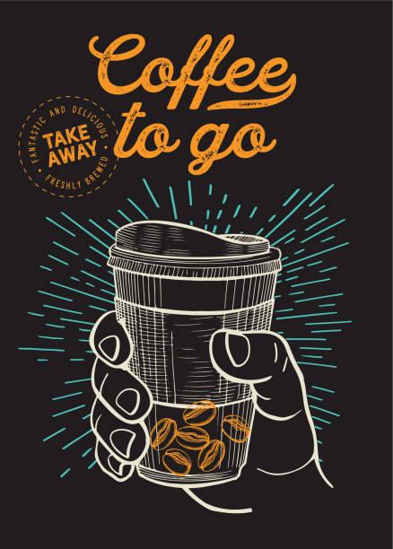 ilustrações, clipart, desenhos animados e ícones de café para ir ilustração para o restaurante no fundo do vintage. poster desenhado mão do vetor para o caminhão do café e da bebida. projete com letras e elementos gráficos do doodle. - café