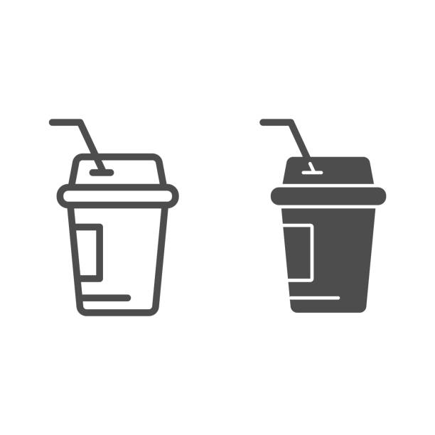 Coffee to go line and glyph icon. Iced coffee vector illustration isolated on white. Coffee in paper cup outline style design, designed for web and app. Eps 10. Coffee to go line and glyph icon. Iced coffee vector illustration isolated on white. Coffee in paper cup outline style design, designed for web and app. Eps 10 alcohol drink silhouettes stock illustrations