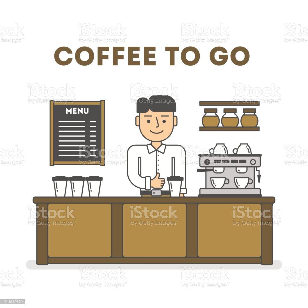 Coffee to go. vector art illustration