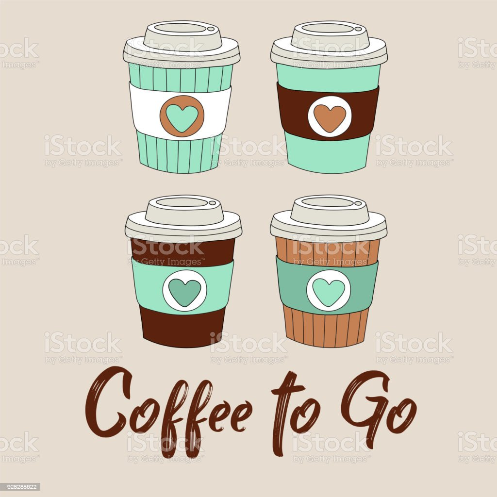 Coffee To Go Vector Illustration With Cute Cartoon Hand