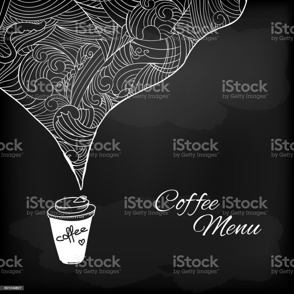Coffee to go with abstract flavored decoration vector art illustration