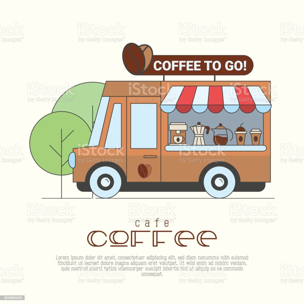 Coffee Truck Concept With Thin Line Icons Of Coffee ...