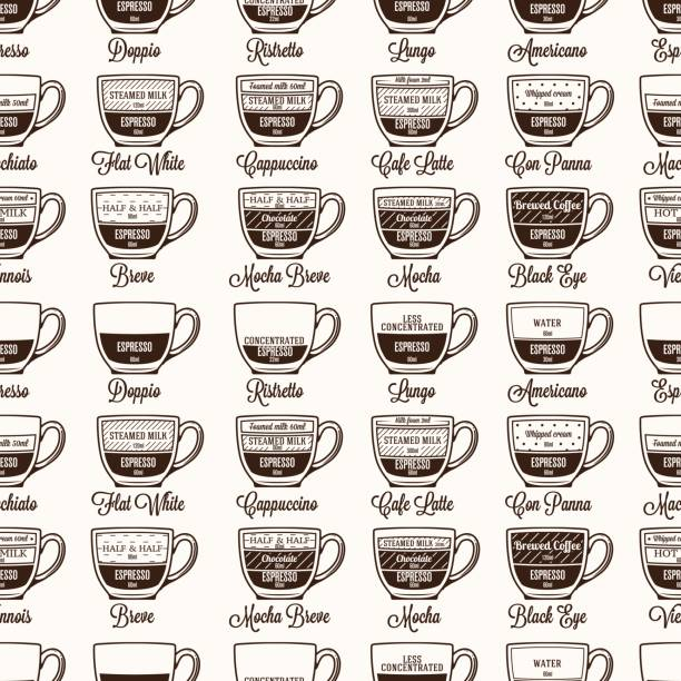 Kaffee Rezept Musterdesign Vektor Infografik Hintergrund geben – Vektorgrafik