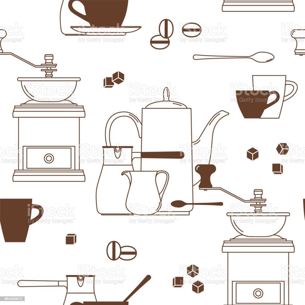 Café. Сup, colher, cubos de açúcar, feijão, arremessador, cezve, moedor de café, pote. Ícones de lineares. De fundo vector sem emenda. - ilustração de arte em vetor