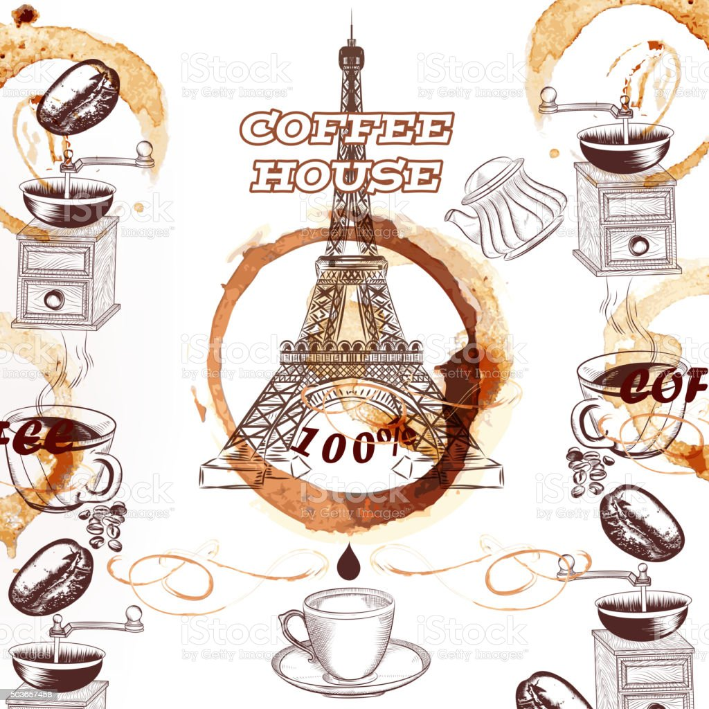 coffee vector background with hand drawn eiffel tower and coffee