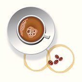 A cup of coffee with coffee beans and coffee stain on white background.