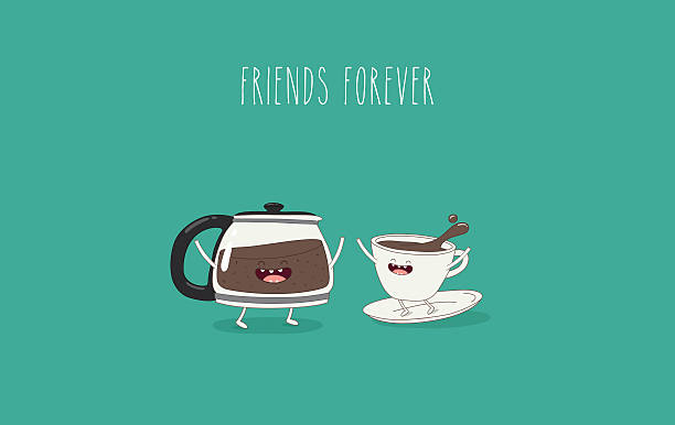 coffee Funny cup of coffee and funny coffee pot. Friend forever. Vector illustration. Comic character coffee pot stock illustrations
