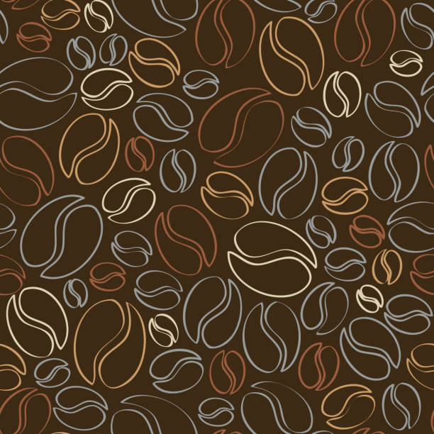 coffee wallpaper pattern - ziarno kawy palonej stock illustrations