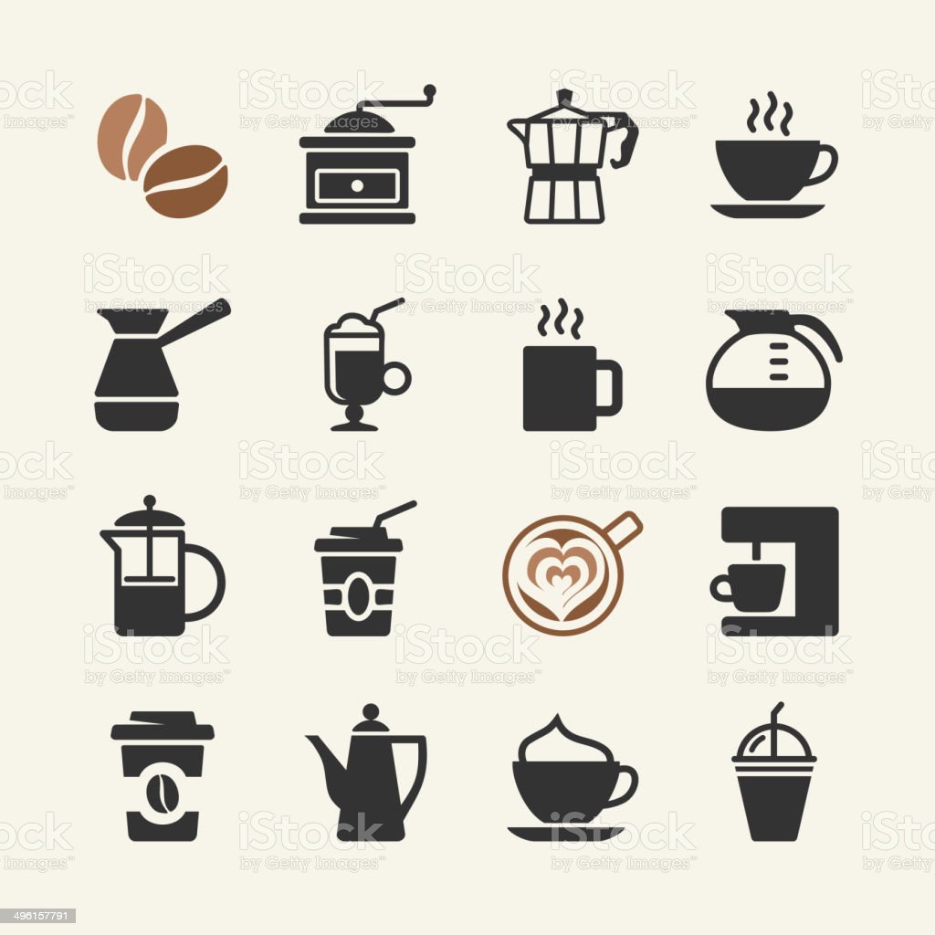 Coffee - web icons set royalty-free stock vector art