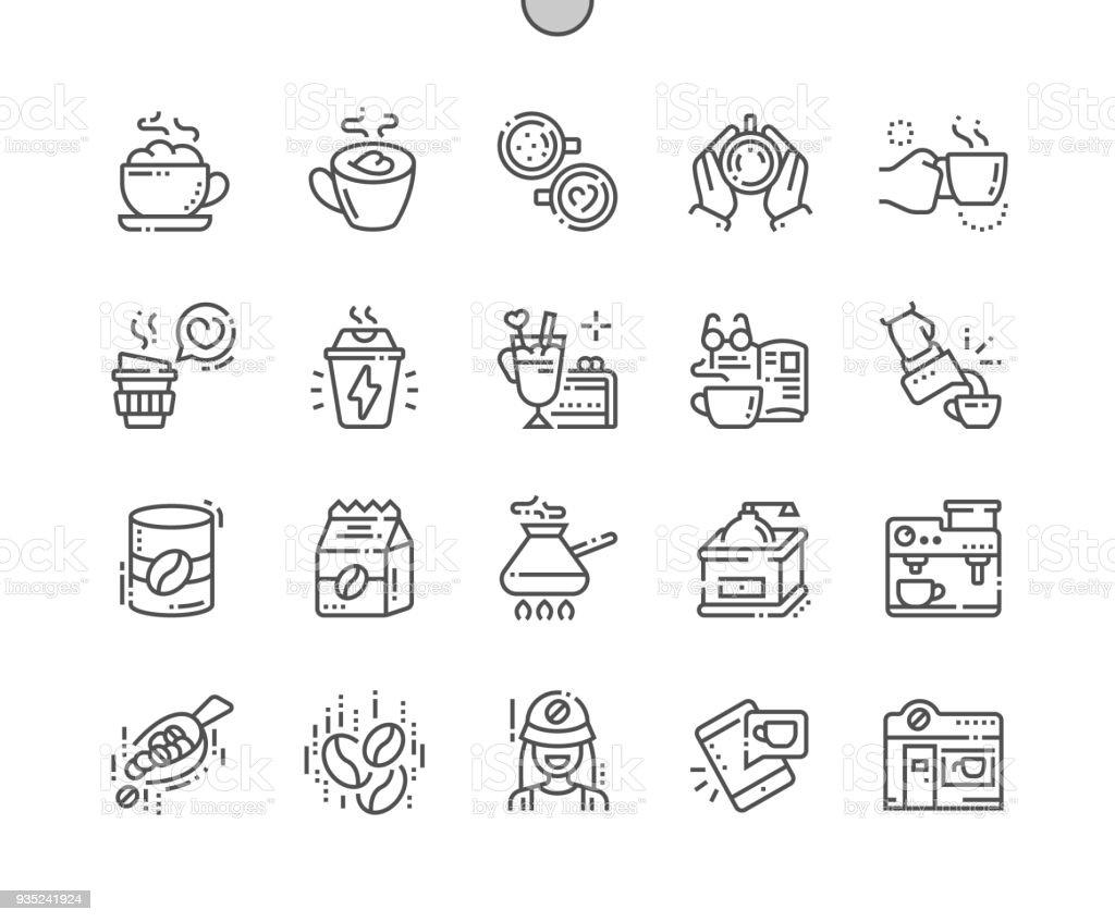 Café Pixel bien ficelé parfait vecteur ligne mince icônes 30 2 x grille pour les graphiques Web et applications. Simple minime pictogramme - Illustration vectorielle