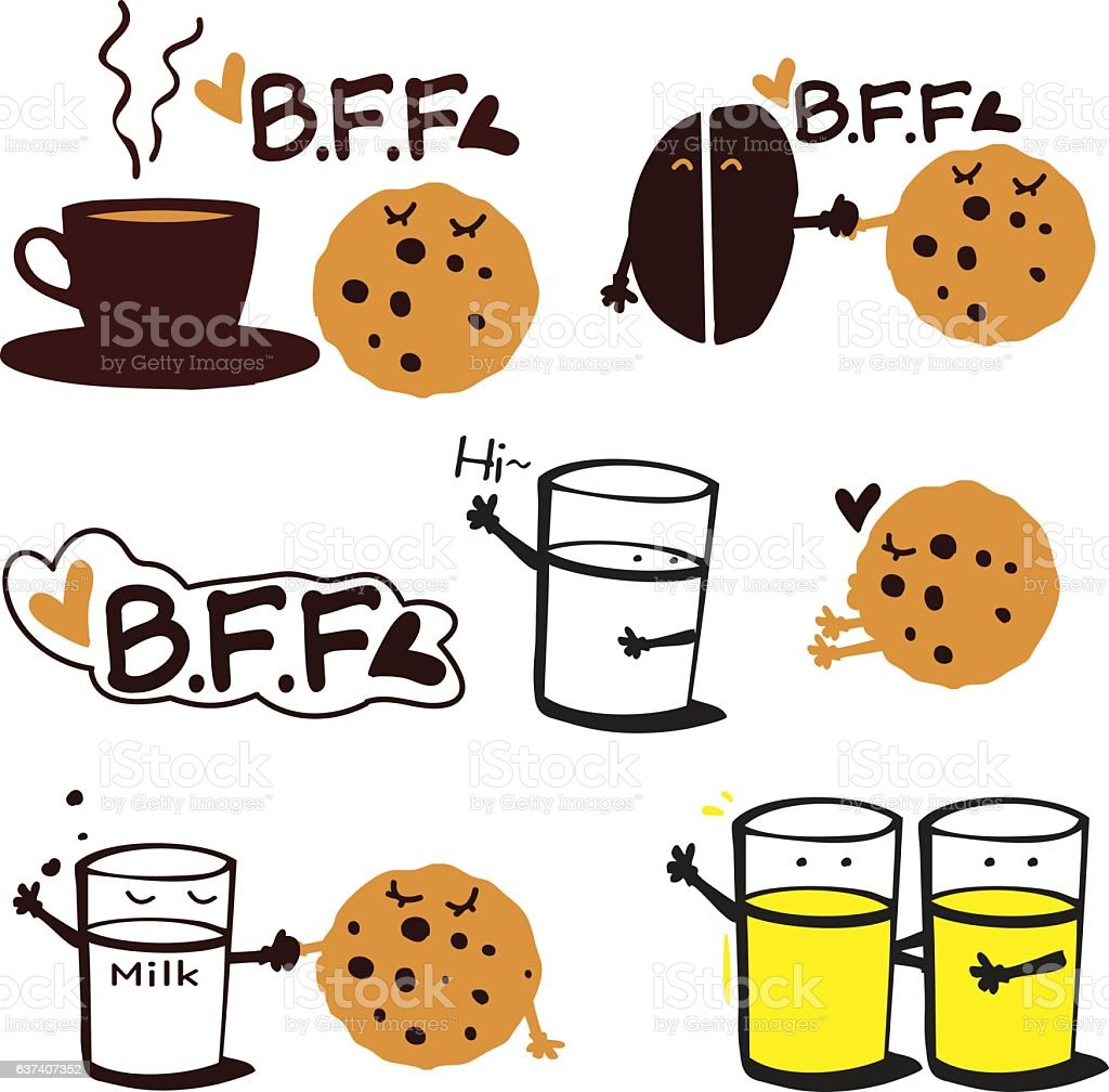coffee with cookie and milk BFF vector art illustration
