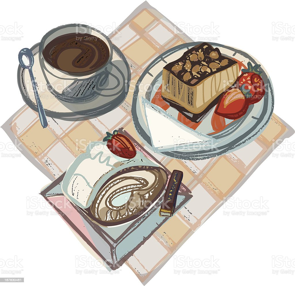 Coffee with Strawberry Cake, Swiss Gateau and Chocolate royalty-free coffee with strawberry cake swiss gateau and chocolate stock vector art & more images of cake