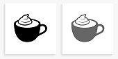 Coffee with Whipped Cream Black and White Square Icon. This 100% royalty free vector illustration is featuring the square button with a drop shadow and the main icon is depicted in black and in grey for a roll-over effect.