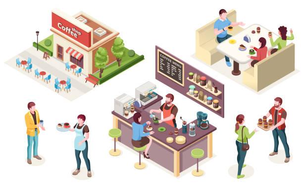 kawiarnia, kawiarnia lub kawiarnia, ikony izometryczne wektorowe. wnętrze kawiarni i personel, barista przy kasie z ekspresem do kawy, kelner i kobieta z kubkiem na wynos, przyjaciele przy stołach kafeteryjskich przy ulicy - bar lokal gastronomiczny stock illustrations