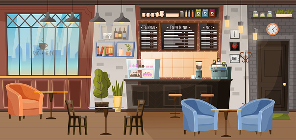 Coffeehouse Interior Design with Chairs and Tables