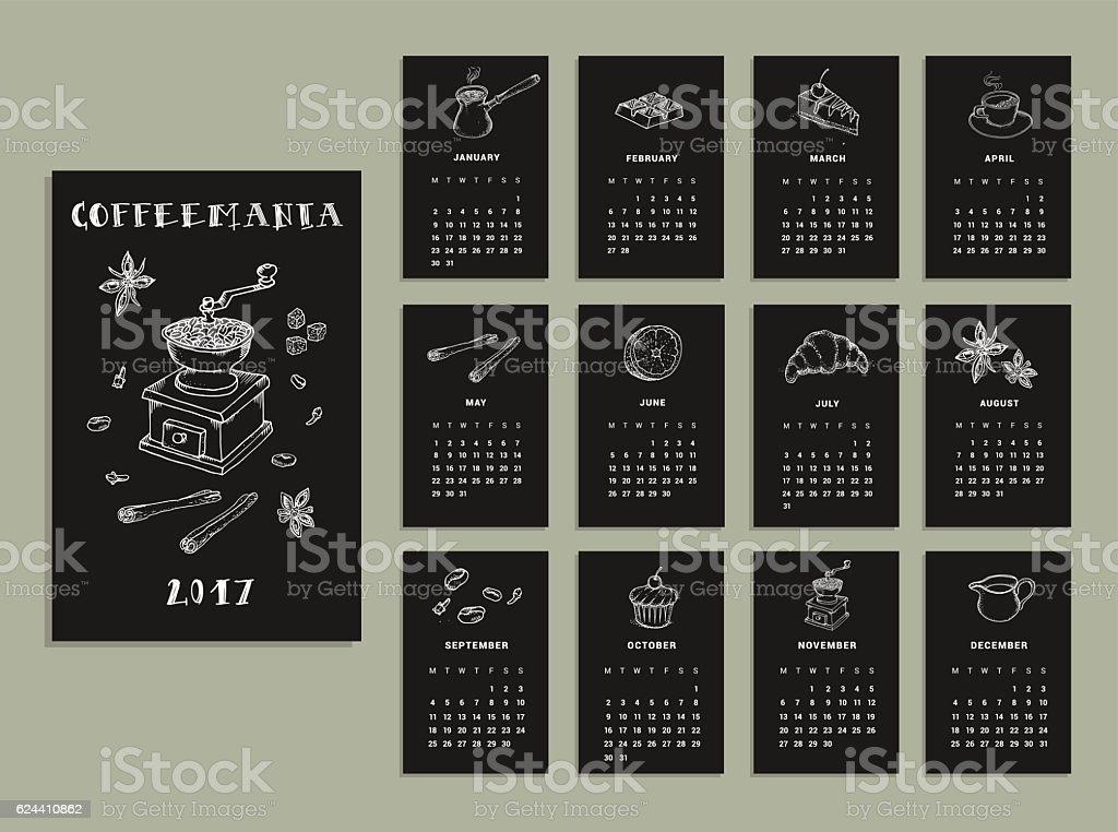 Coffeemania. Calendar of 2017. Vector. Isolated - ilustración de arte vectorial