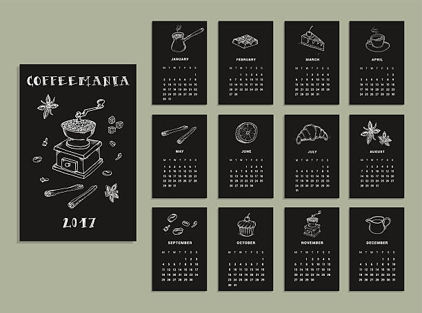 coffeemania. calendar of 2017. vector. isolated - naturkalender stock-grafiken, -clipart, -cartoons und -symbole