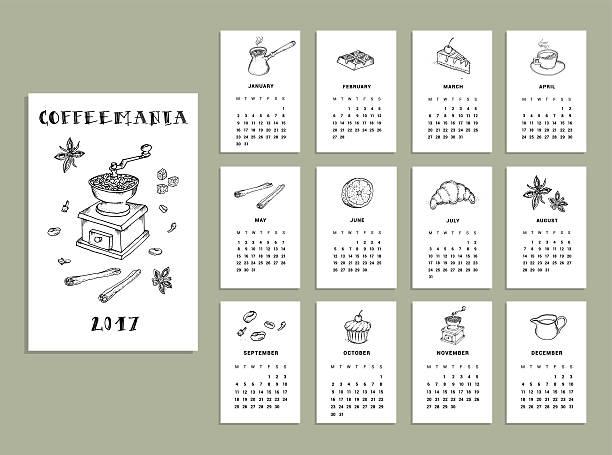 coffeemania. calendar of 2017. vector. isolated - マスカット イラスト点のイラスト素材/クリップアート素材/マンガ素材/アイコン素材