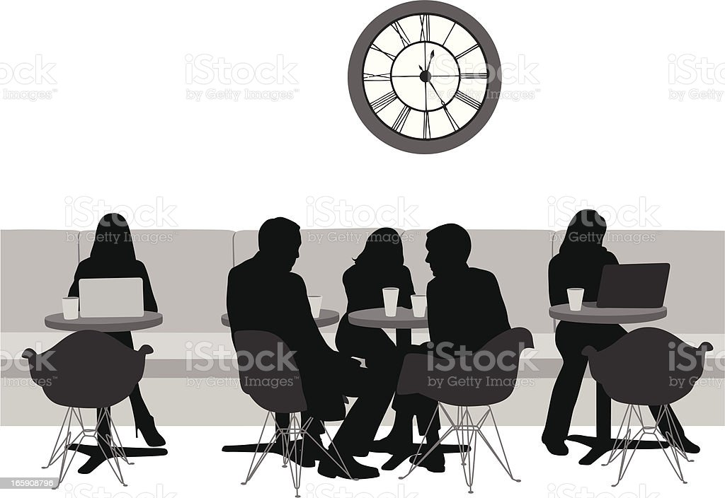 Coffee'n Laptop Vector Silhouette royalty-free coffeen laptop vector silhouette stock vector art & more images of adult