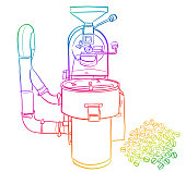 Coffee roaster machine hand drawn vector illustration