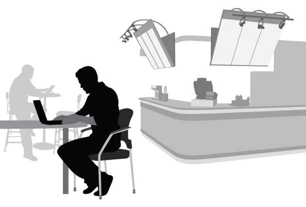 bildbanksillustrationer, clip art samt tecknat material och ikoner med coffeeshop freelancer - arbeta köksbord man